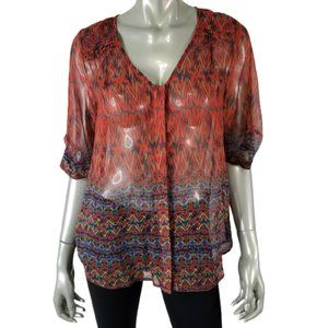 Skies Are Blue Top Small Sheer Pleated Tunic Red